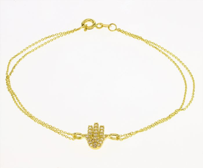 צמיד חמסה זהב 14K משובץ זירקונים