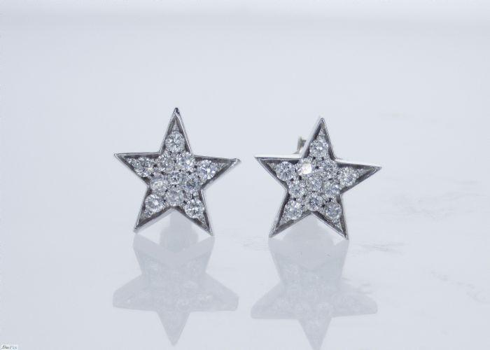 עגילי יהלומים בצורת כוכב