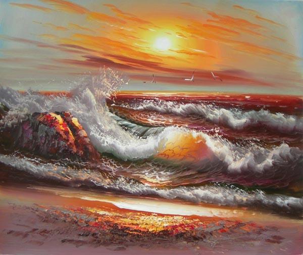 שקיעה בים ציור בשמן