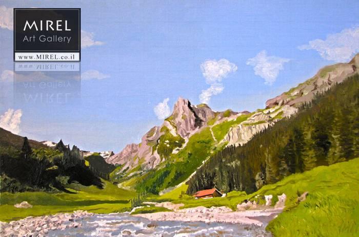 ציור נוף הרים, שוויץ
