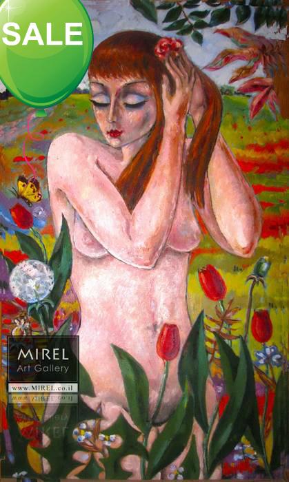 אישה בפרחים