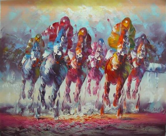 ציור שישה סוסים במירוץ