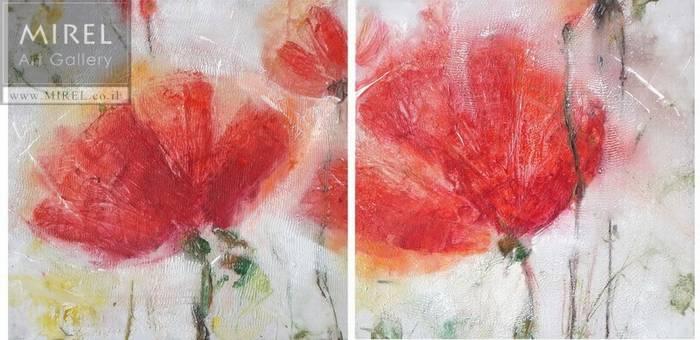 ציור פרחים אדומים