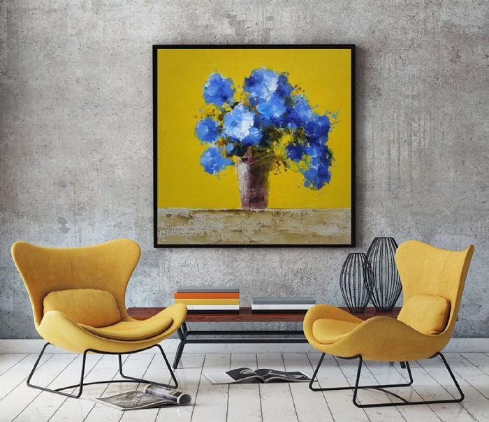 זר פרחים כחולים מודרניים