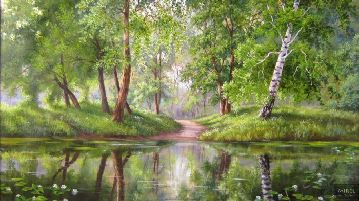 נוף ירוק ציור שמן
