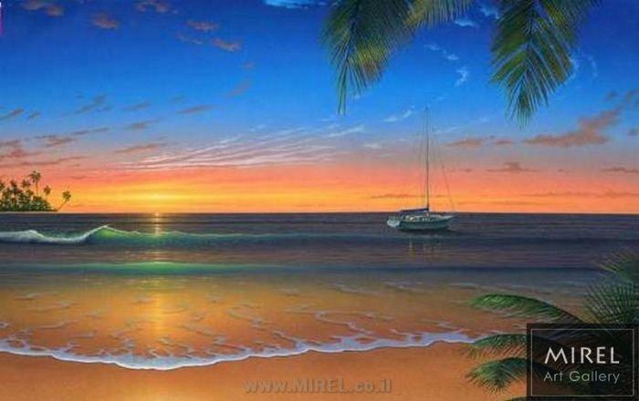 ציור שקיעה על החוף