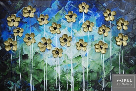 פרחים בכחול וזהב