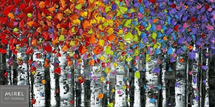 עץ ליבנה בצבעי קשת