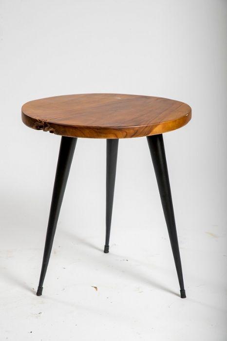 שולחן צד עץ עגול