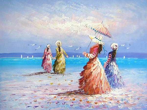 על חוף הים ומטריה