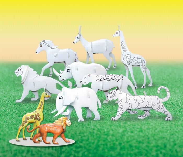 פאזל תלת מימד -סדרת חיות לצביעה