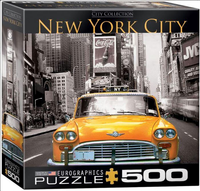 פאזל 500 חלקים - ניו יורק סיטי עם מונית צהובה