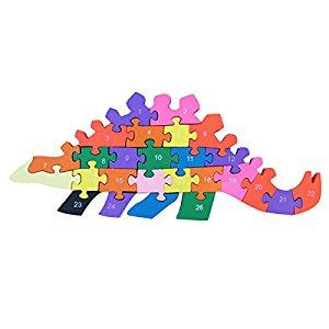 פאזל מעץ לילדים  צורת דינוזאור