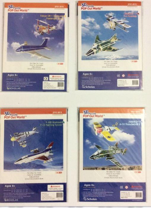 פאזל תלת מימד -סט של 4 ערכות של מטוסים (ביחד 8 מטוסים)