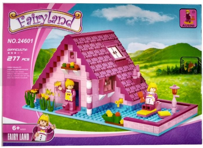 משחק הרכבה - בית ענקי עם גינה ודמויות