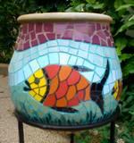 כד ליובל -פסיפס קרמיקה  ---מתנה--- Carp Fish - Ceramic mosaic  Ǿ 28x29