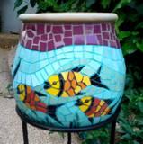 כד ליובל -פסיפס קרמיקה ---נמכר--- Carp Fish - Ceramic mosaic Ǿ 28x29