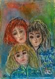 שלוש נשים - גירי שמן על קרטון