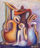 שיח קומקומים - אקריליק על קנבס -  Kettles talk - Acrylic on canvas 70x50