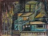 פנסי רחוב - גירי שמן על קרטון  Streetlights - Oil pastels on paper  30X20