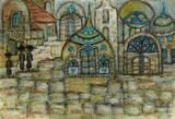 סמטה בירושלים - גירי שמן על קנבס -  An alley in JERUSALEM - Oil pastels on paper  30x20
