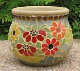 גן פורח - כד פסיפס - מיחזור צלחות Flowering Garden - Recycled Plates Ǿ25X20