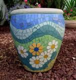 חרציות - פסיפס קרמיקה ---נמכר---Chrysanthemum - Ceramic mosaic Ǿ37x44