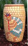 כד הקוקופלי - פסיפס קרמיקה The Kokopelli´s Jar - Ceramic  mosaic Ǿ23x38