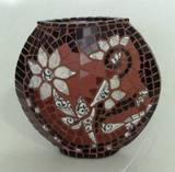 אגרטל פרח לבן - פסיפס קרמיקה ופורצלן  Vase - Mosaic White flower - Ceramic 20X20