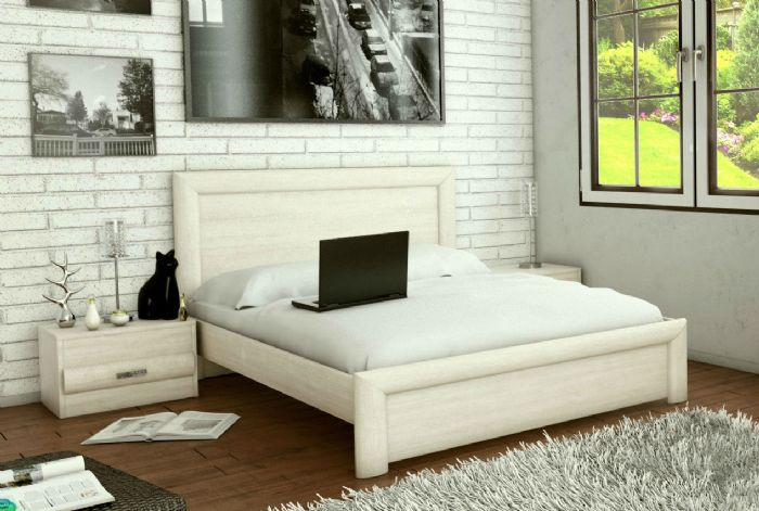 חדר שינה: מיטה זוגית ספיר ושידות