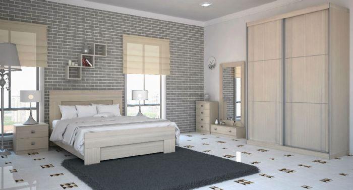 חדר שינה קנטרי עם ארון הזזה