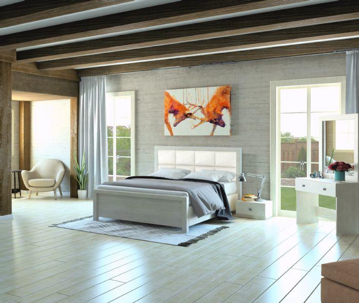 חדר שינה וונדי בגוון לבן עם ריפוד דמוי עור כסוף ממלאי