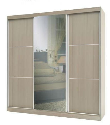 ארון הזזה 3 דלתות גלי 200 בגוון לבן ממלאי