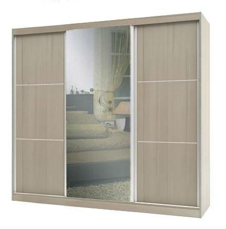 ארון הזזה 3 דלתות 240 גלי בגוון שמנת ממלאי