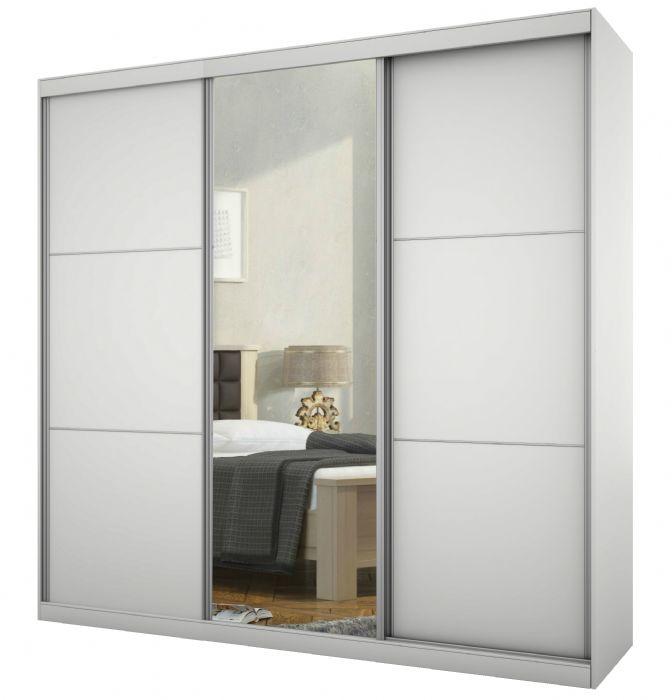 ארון הזזה 3 דלתות 180 גלי בגוון לבן ממלאי