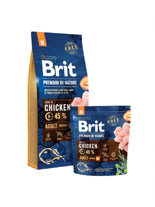 "Brit- בריט כלב בוגר גזע בינוני- עוף 15 ק""ג"