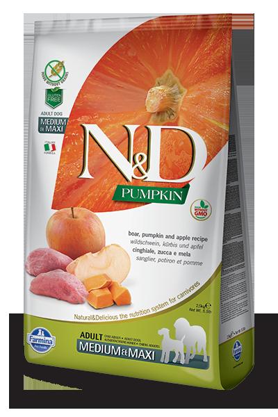 """Natural Delicious- דלעת וחזיר בר נטול דגנים לכלב בינוני עד גדול- 12 ק""""ג"""