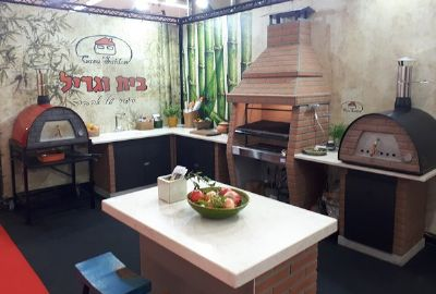 תצוגה מנגל טבון מטבח חוץ שולחן בטון