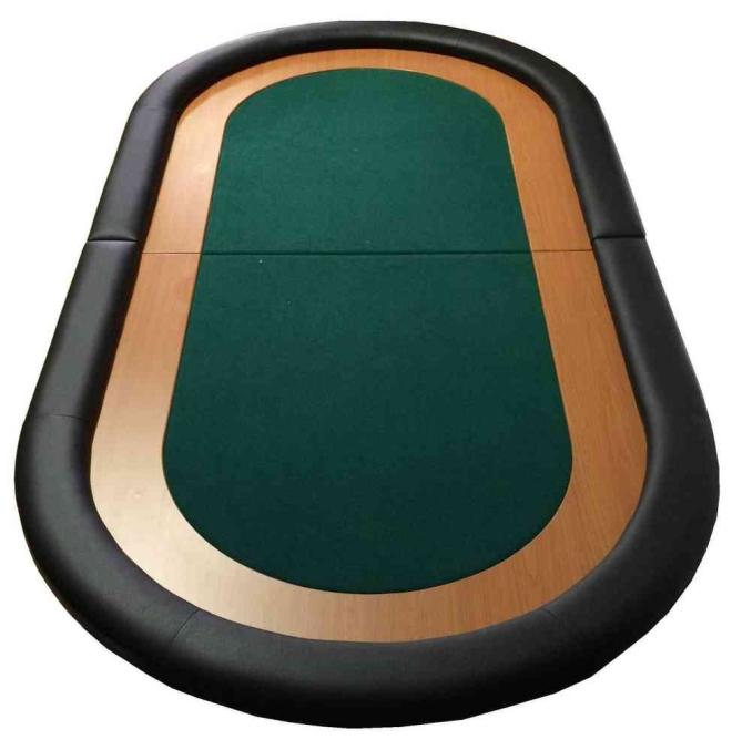 """טופ שולחן פוקר ירוק דו""""ז עץ ל-10 שחקנים, אזל"""